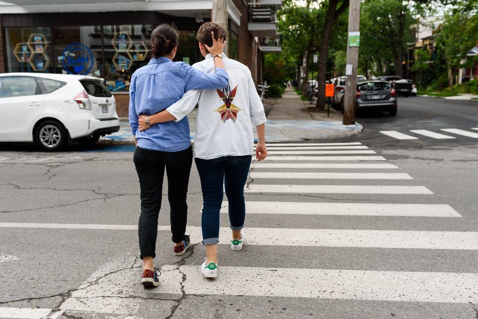 Lesbian couple crossing the street