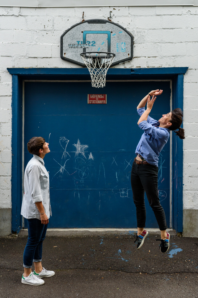 Alleyway engagement photos in Montreal