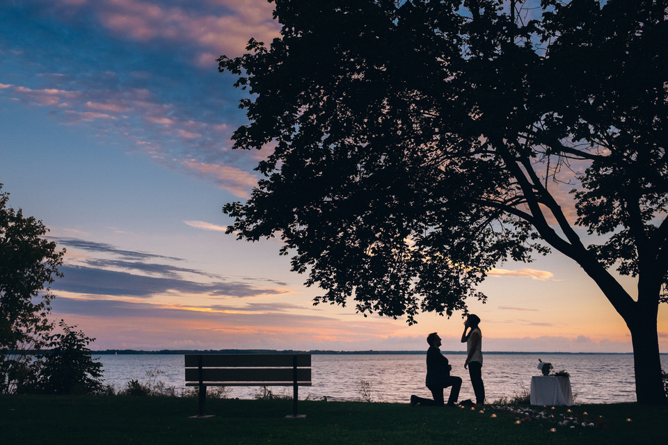 Sunset surprise proposal in Montreal, Quebec