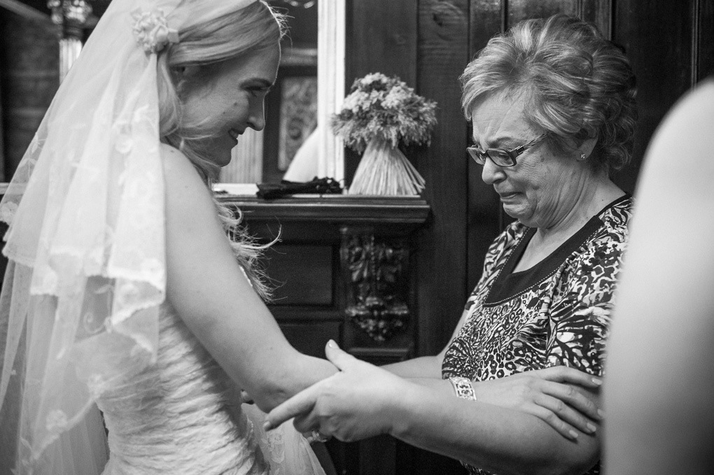 Mother looking at bride
