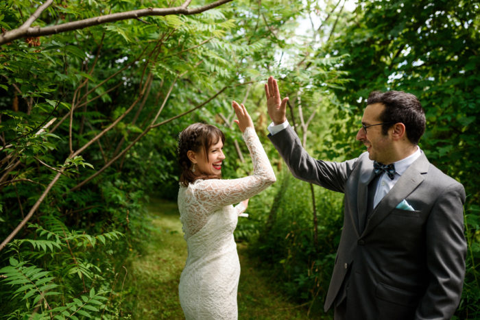 bride groom high five woods