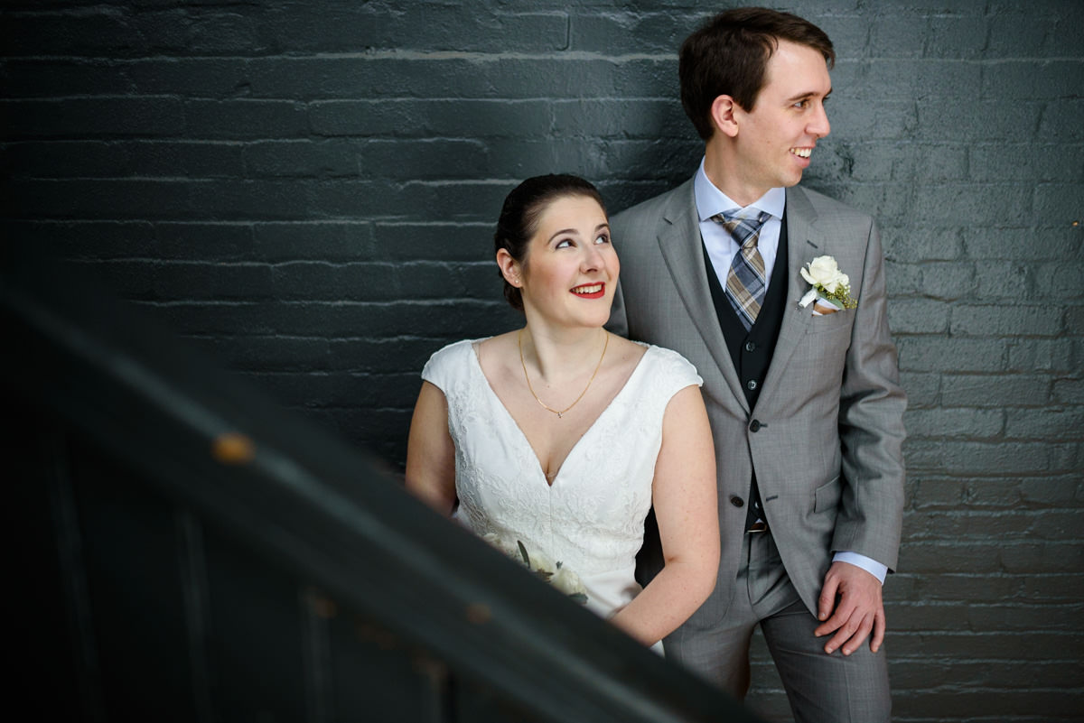 Bride and groom portrait at Ambroisie, Montreal