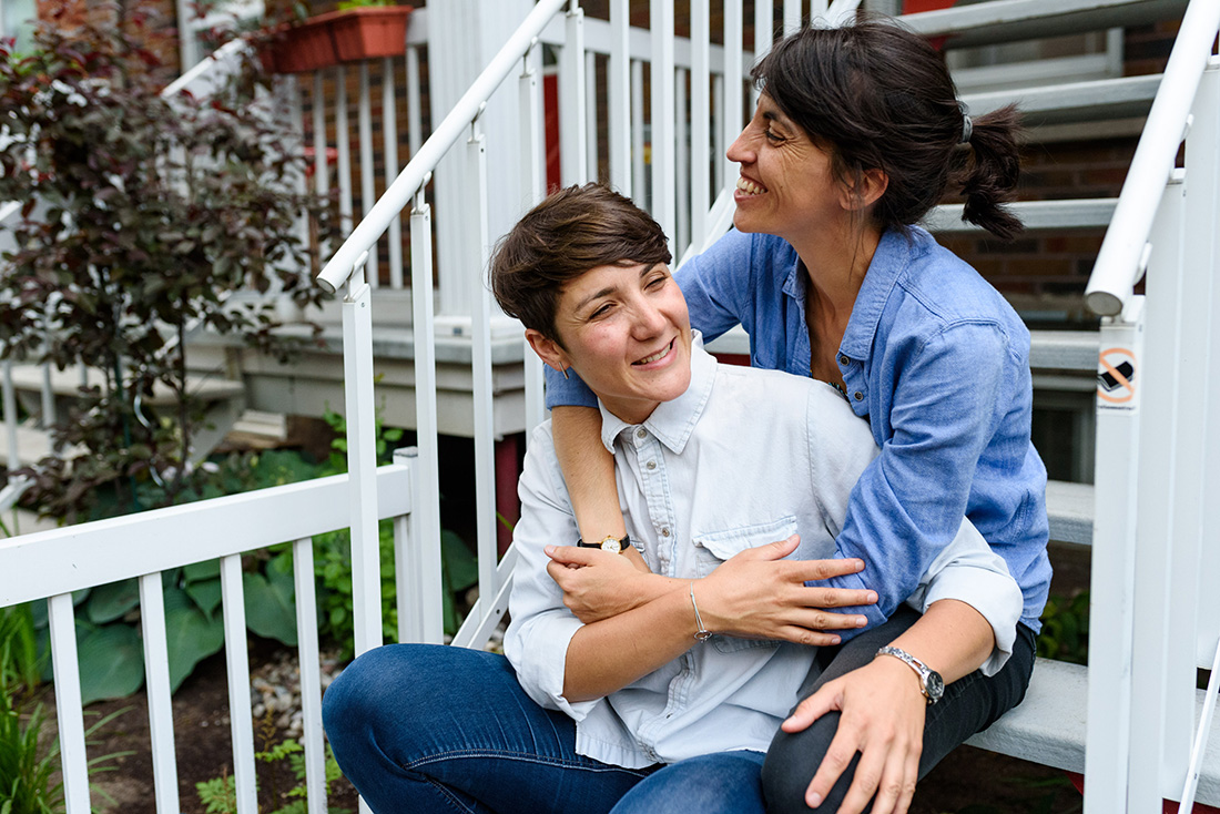 Lesbian engagement photo in Montreal