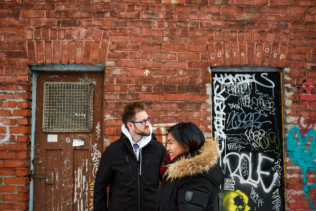 Winter engagement photos in Mile End