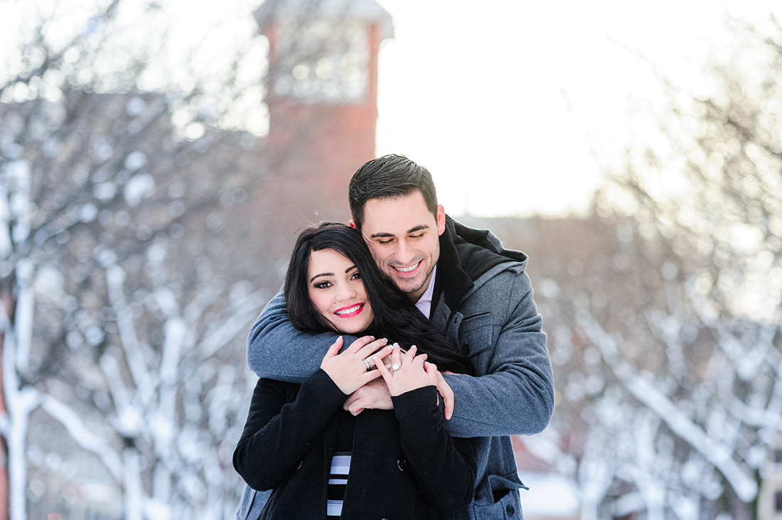 Winter engagement photo in Old Montreal