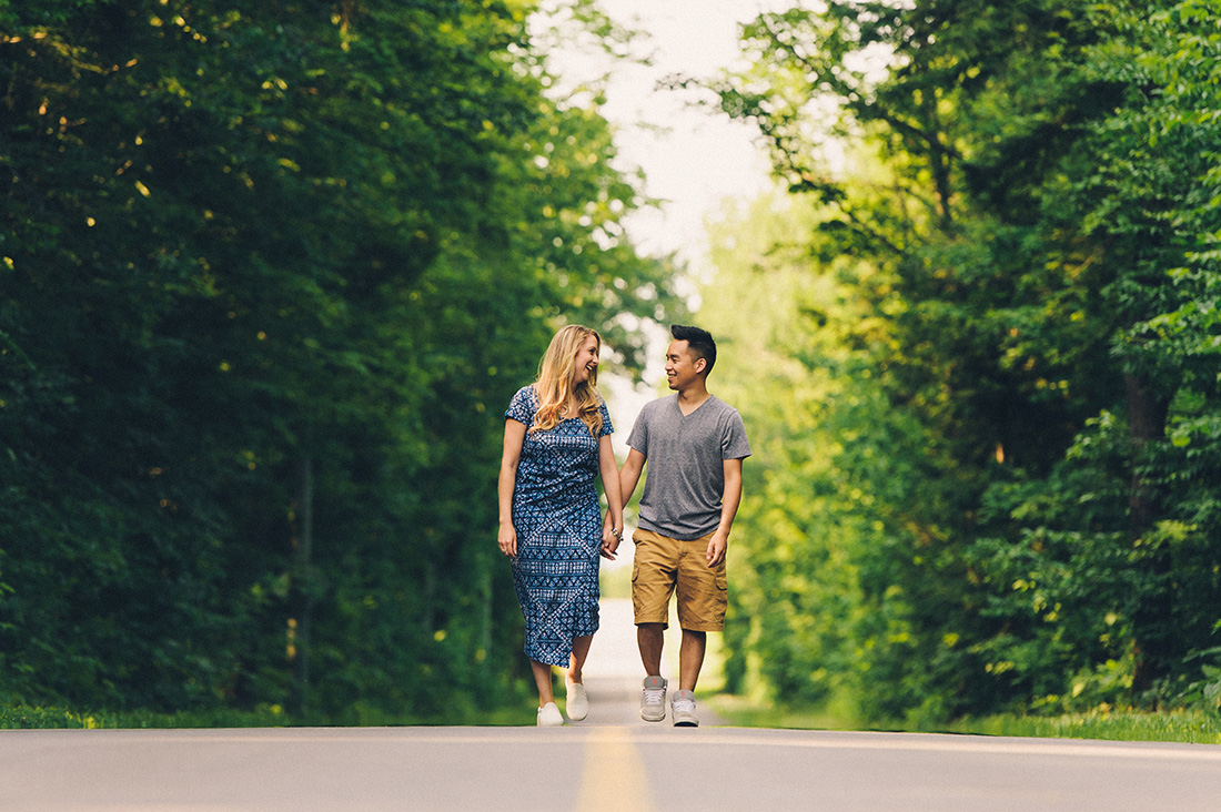 Country road engagement photo in Eastern Townships, Quebec
