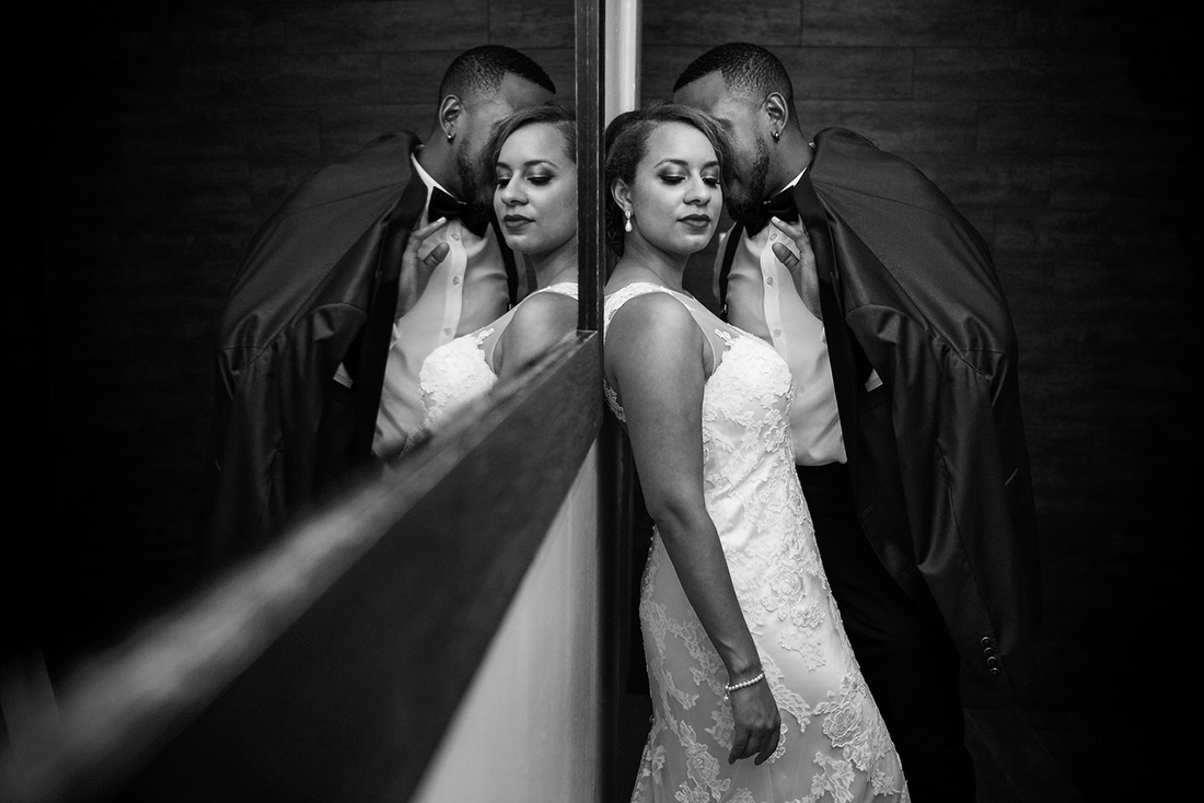 Dramatic black and white wedding portrait