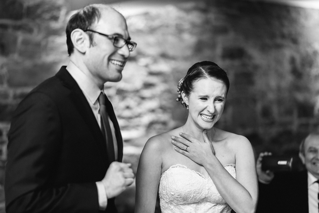 Emotional bride and groom at Hotel Nelligan wedding
