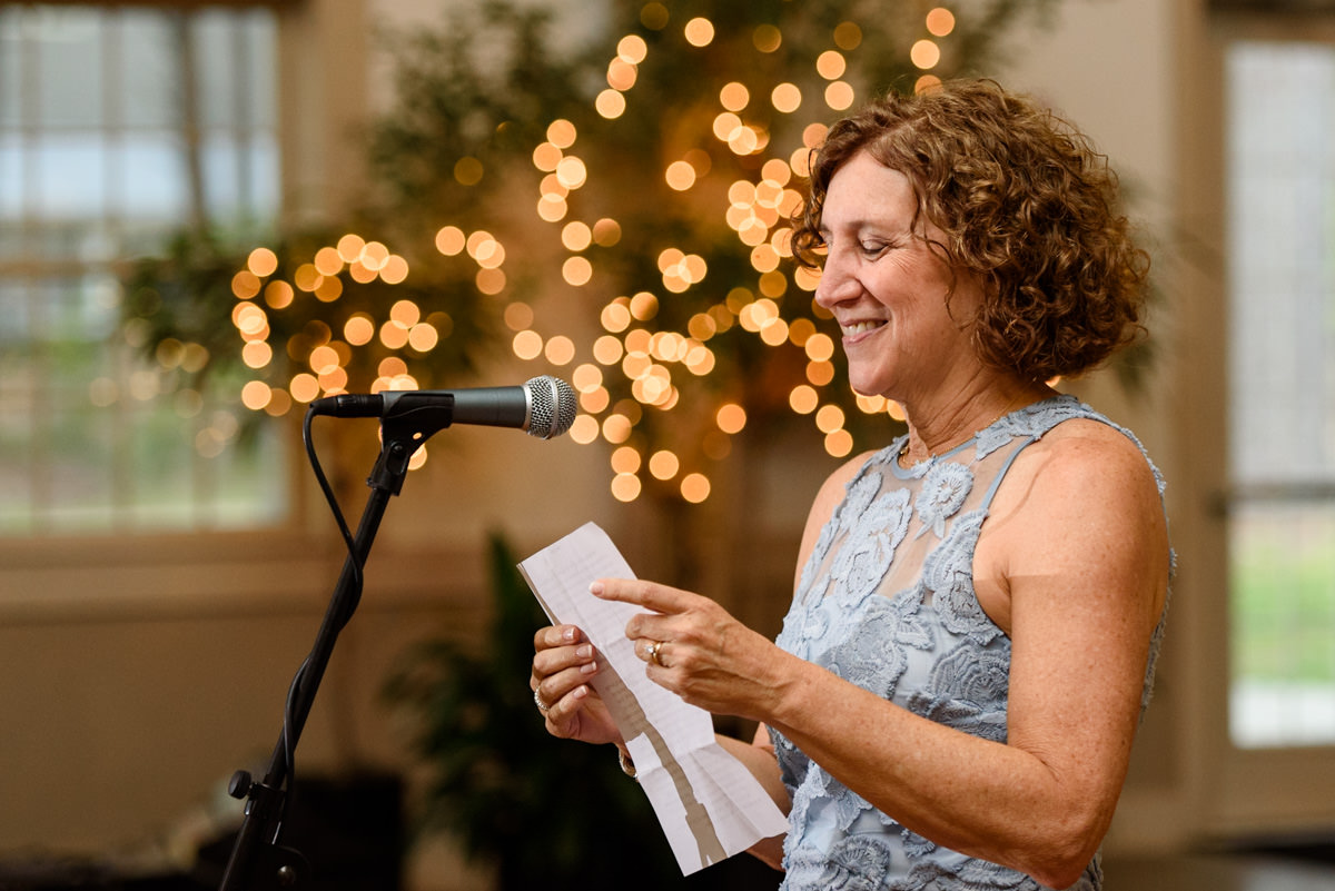 Mother of the bride giving a speech in Massachusetts wedding