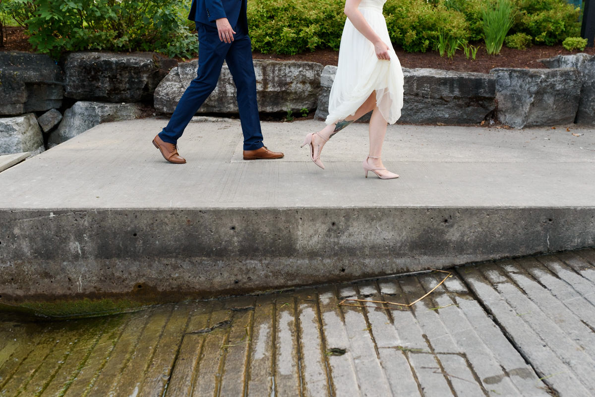 Bride and groom's feet at Ontario wedding