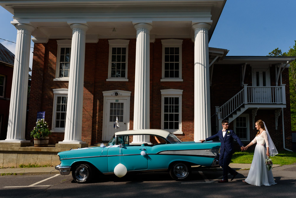 Bromont wedding photo with retro car