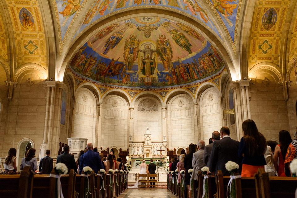 Wide shot of Saint-Leon de Westmount church wedding ceremony