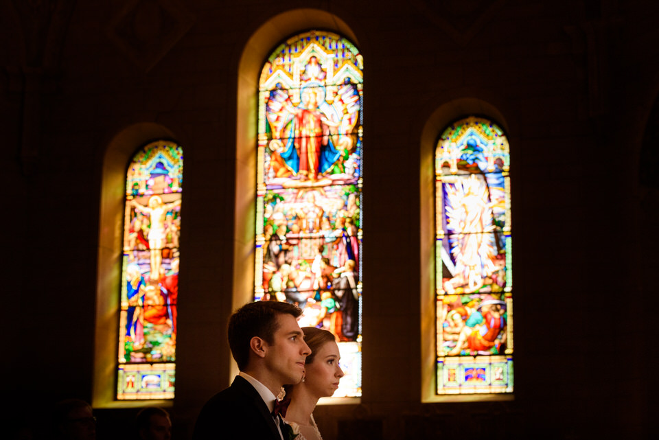 Bride and groom at Catholic church ceremony