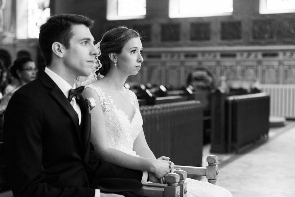 Emotional bride at wedding
