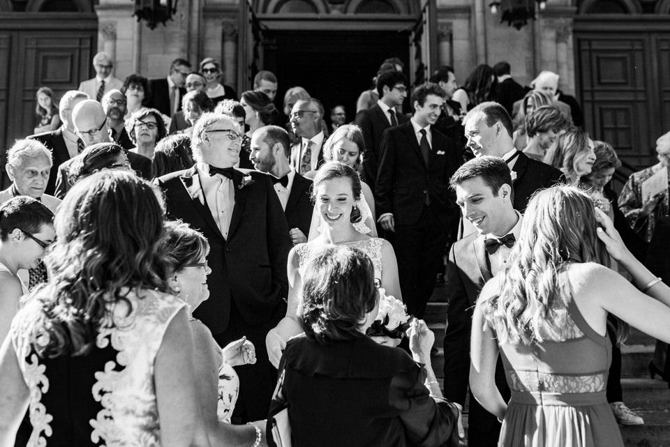 Happy wedding ceremony exit