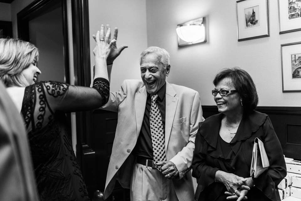 Grandparents giving a high five