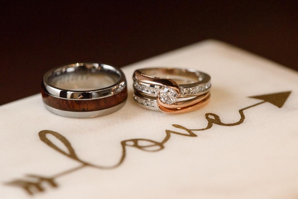 Wedding rings close up on box