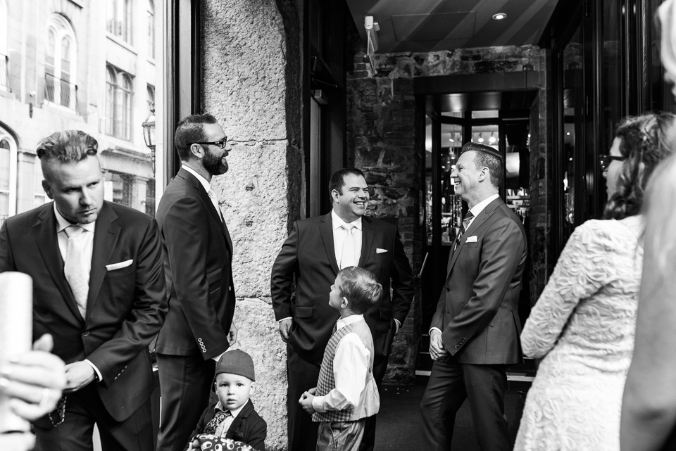 Groom and family waiting downstairs at Hotel Nelligan for ceremony to start