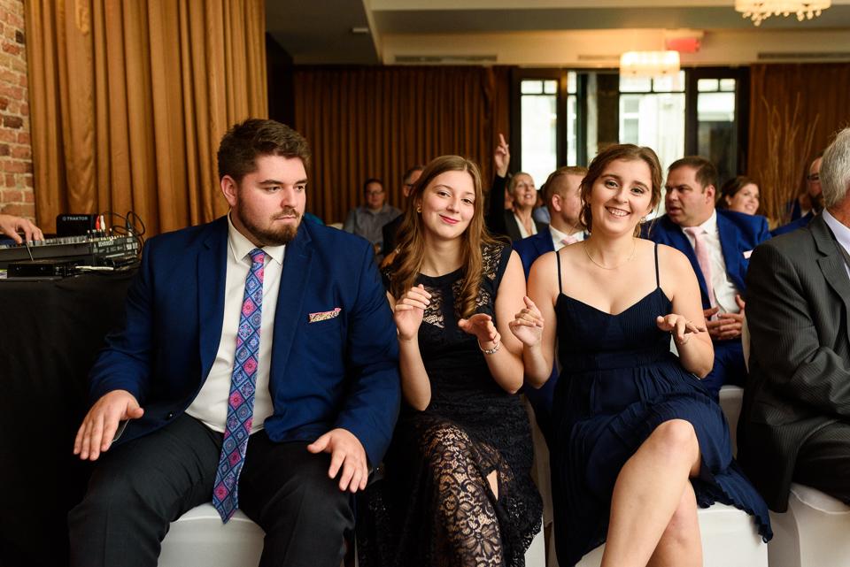 Guests singing during wedding