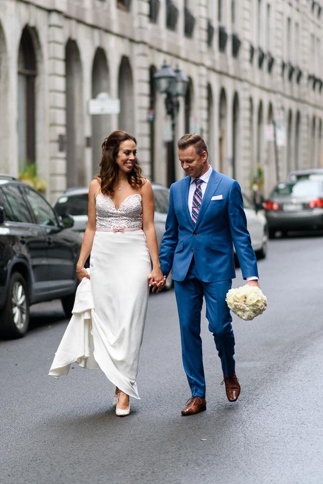 Wedding couple walking in Old Montreal