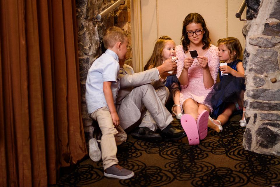 Kids playing at Hotel Nelligan wedding reception