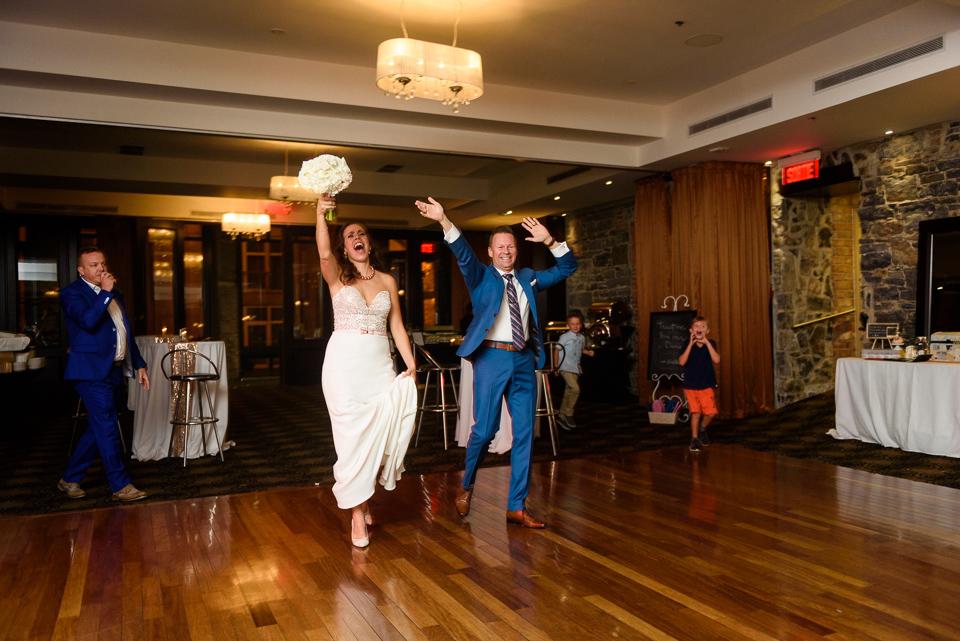 Bride and groom entrance at Hotel Nelligan wedding reception