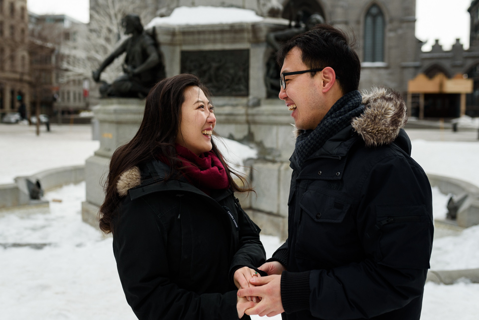 Just engaged photos after surprise proposal in Montreal 05