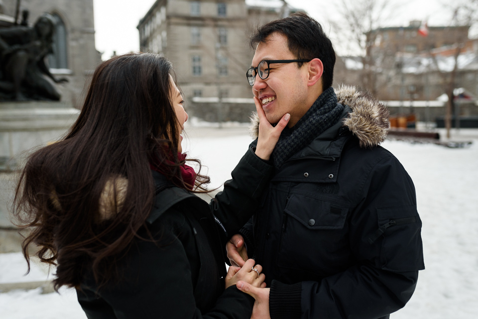 Just engaged photos after surprise proposal in Montreal 06