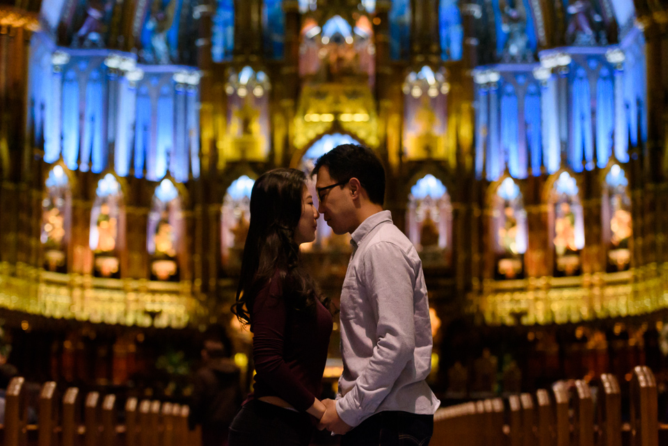 Engagement photo in Notre-Dame Basilica