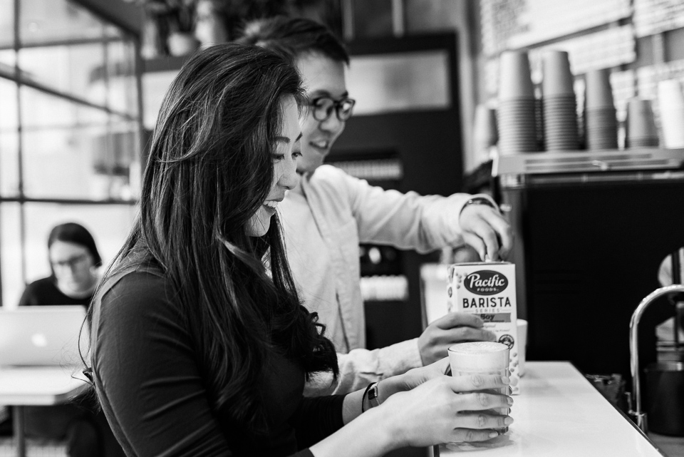 Engagement photos at Melk Cafe in Old Montreal 01