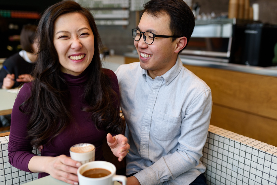 Engagement photos at Melk Cafe in Old Montreal 09