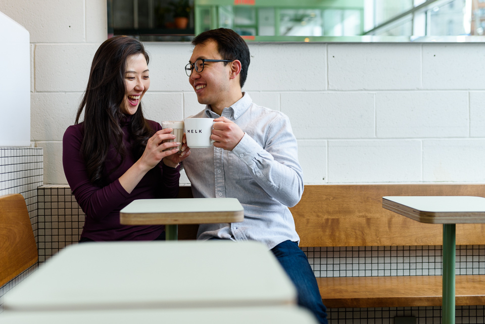 Engagement photos at Melk Cafe in Old Montreal 08