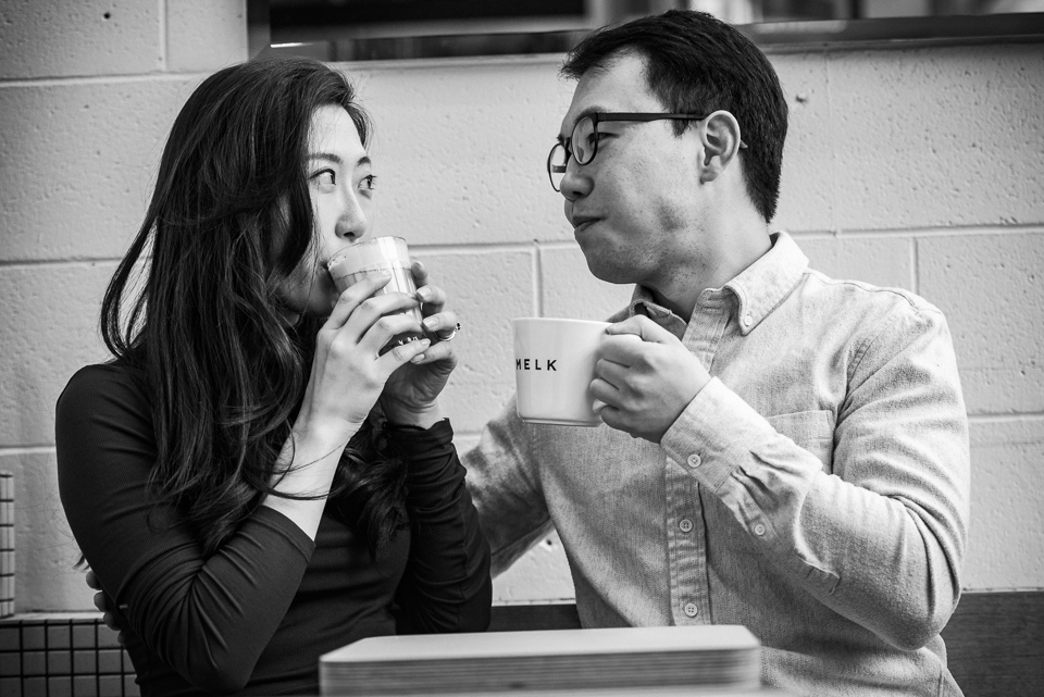 Engagement photos at Melk Cafe in Old Montreal 07