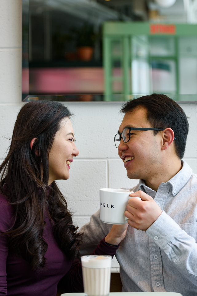 Engagement photos at Melk Cafe in Old Montreal 06