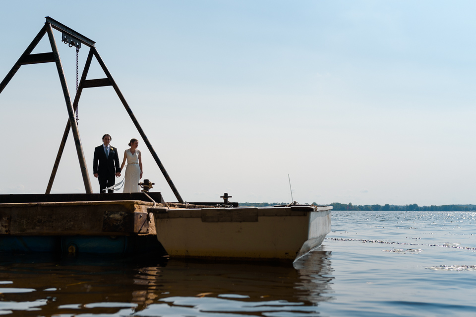 Wedding portrait on a dock