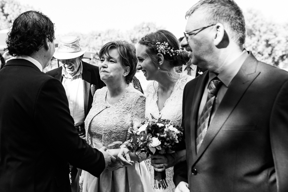 Emotional mom at wedding ceremony