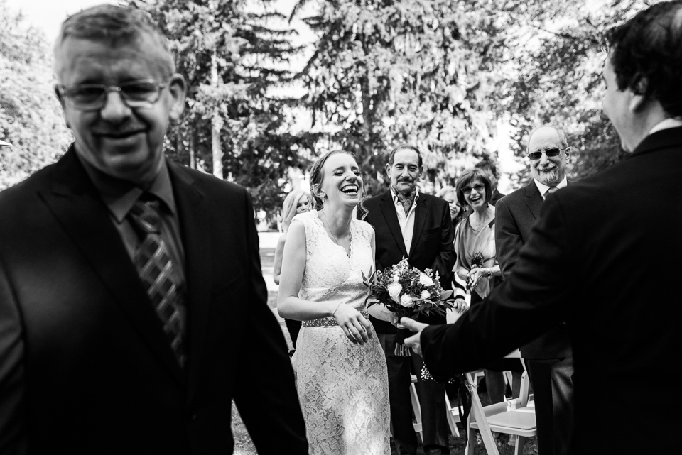 Laughter at wedding ceremony