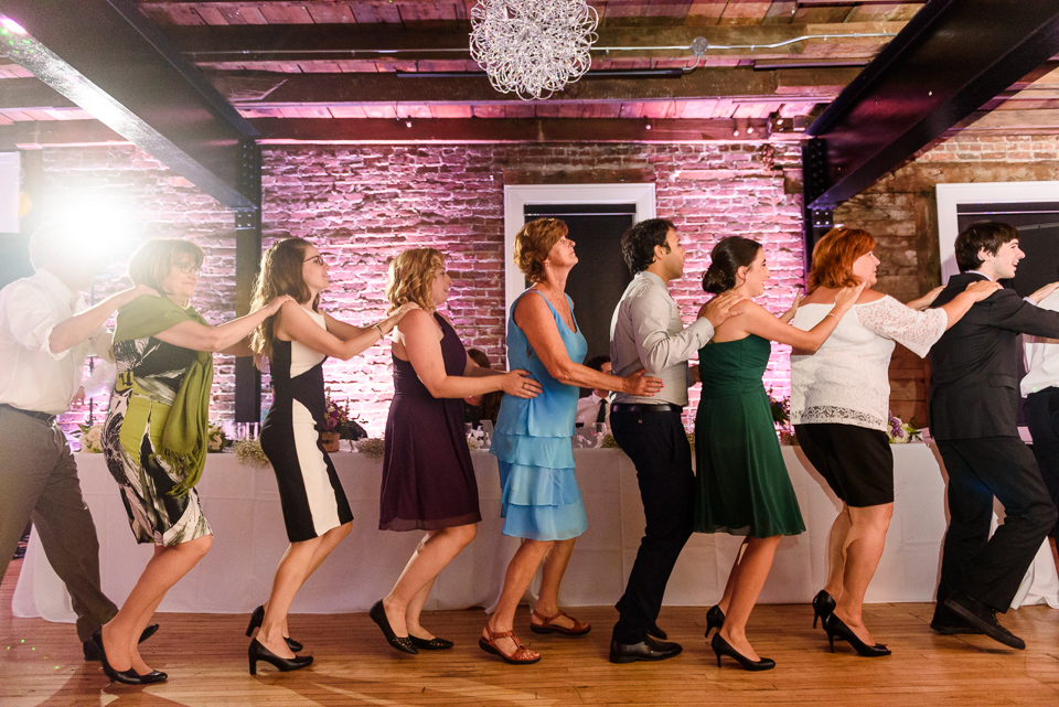 Conga line at wedding reception