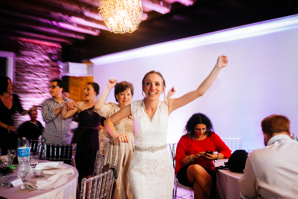 Bride leading the conga line
