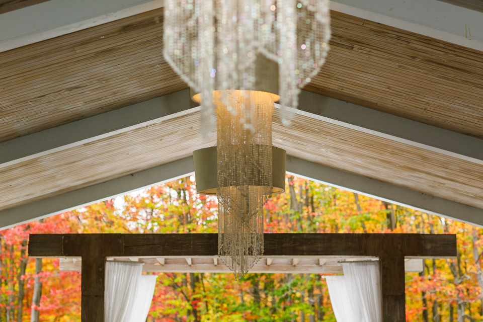 Chalet des Erables wedding pavilion with fall leaves behind