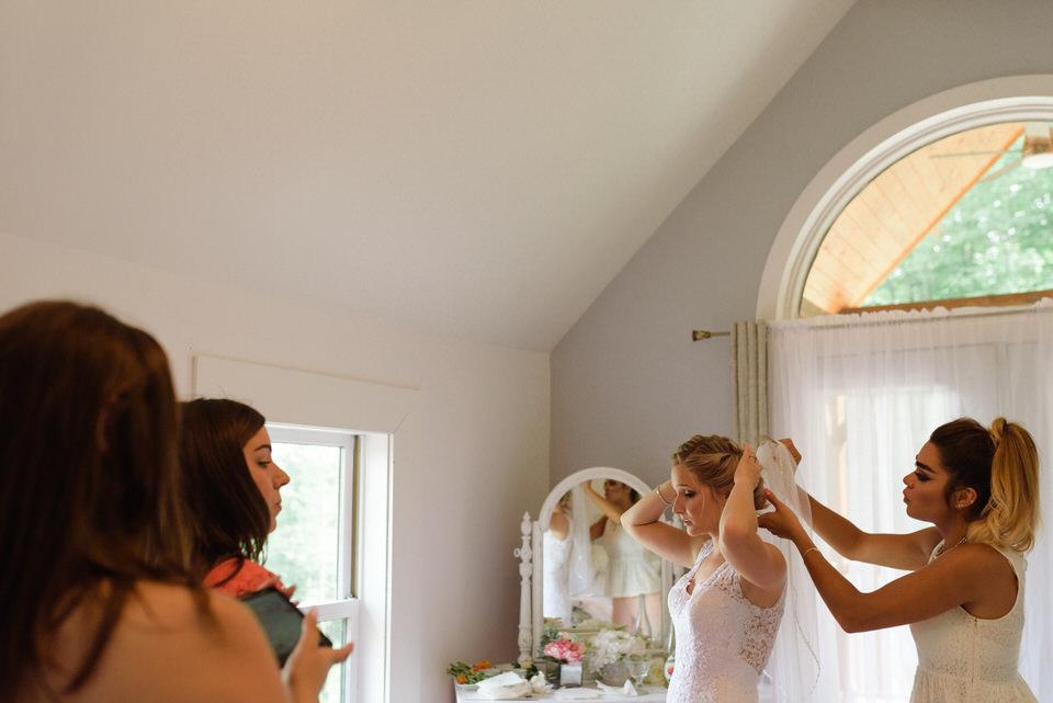 Attaching the wedding veil