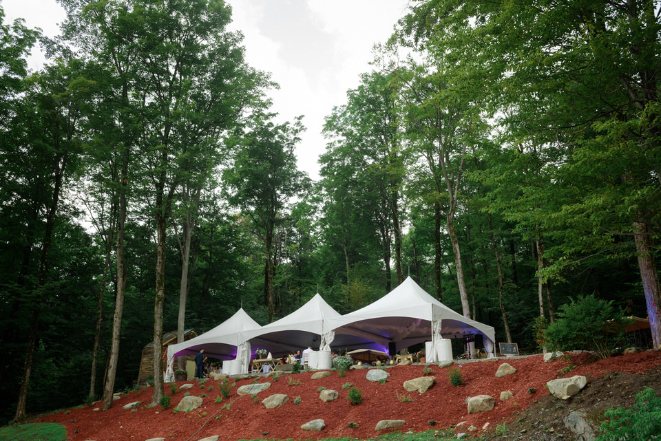 Wedding tents on side of hill