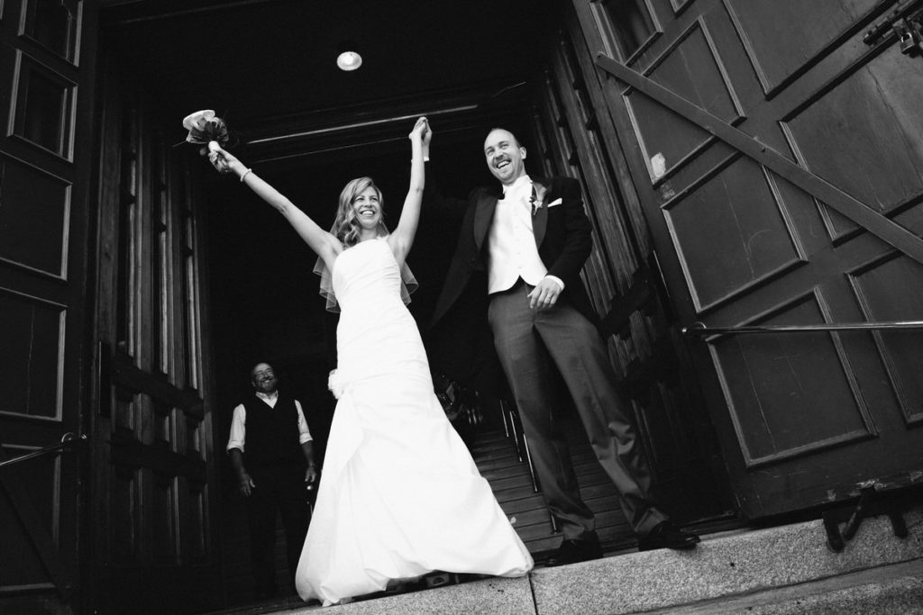 Triumphant exit from the church after the wedding