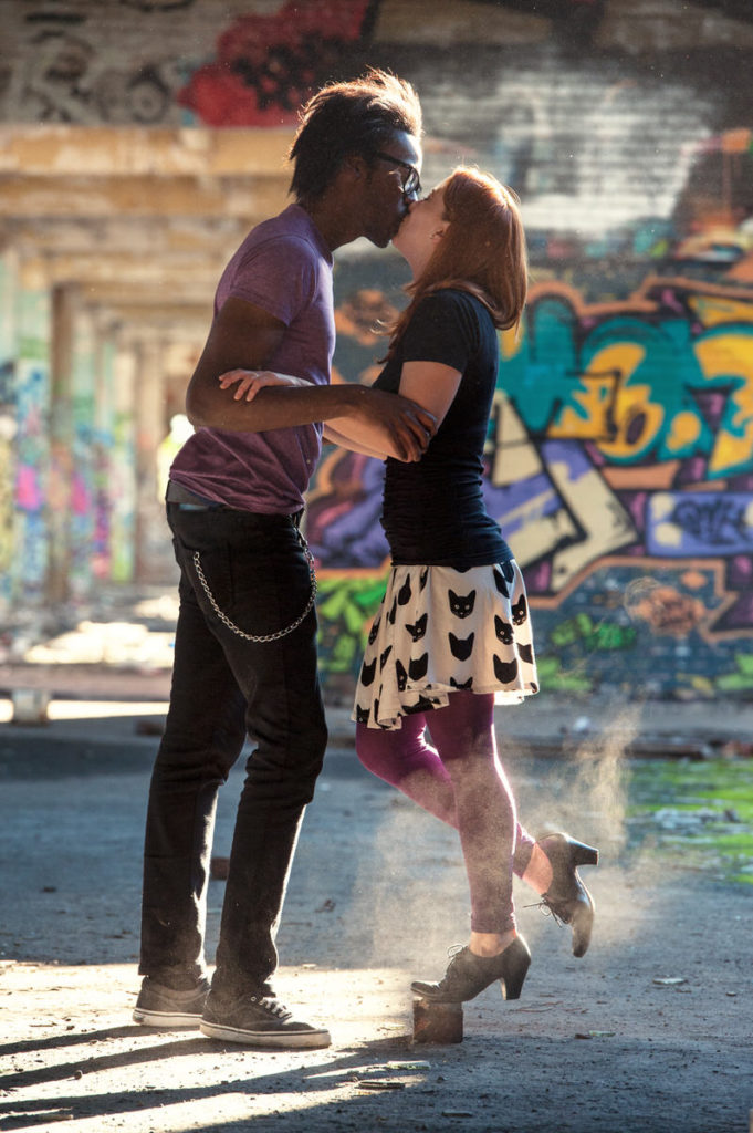 graffiti engagement photos in Montreal factory