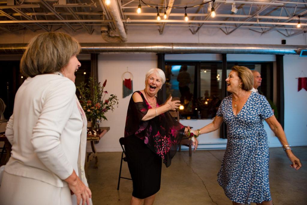 Bride's mother dancing