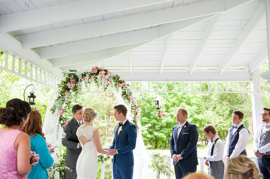 Wedding on porch of Old Mansion House