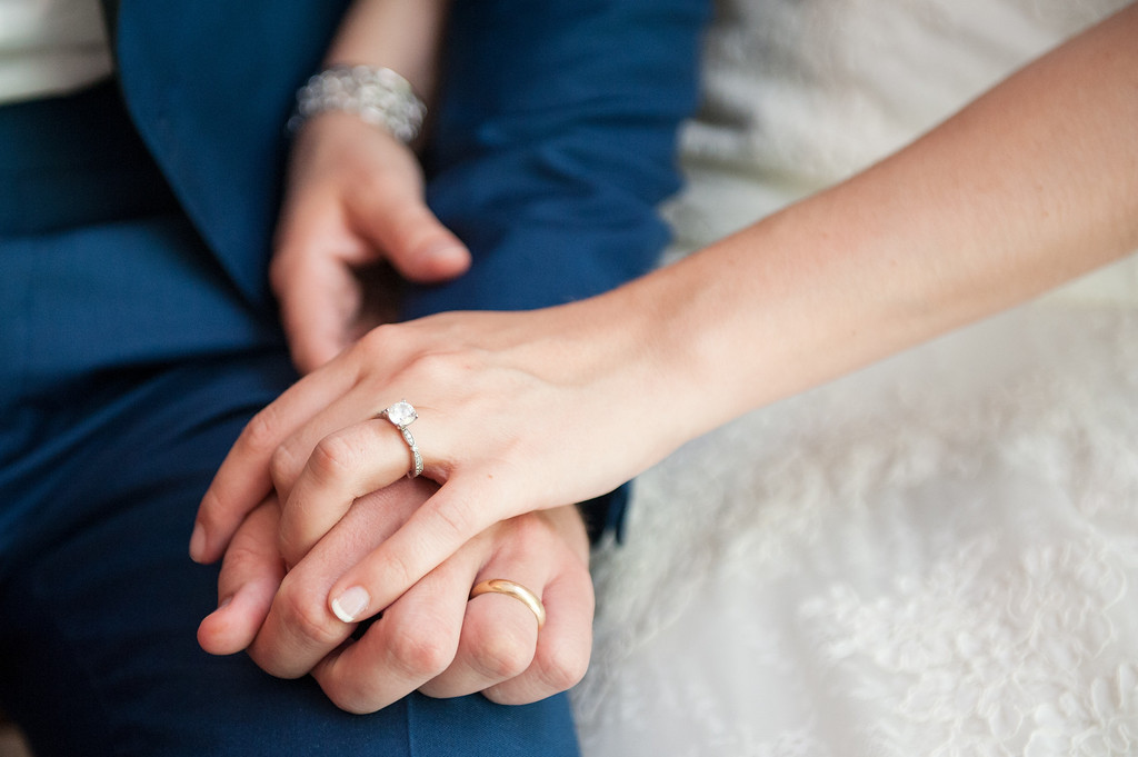 Close up of wedding couples hands with rings
