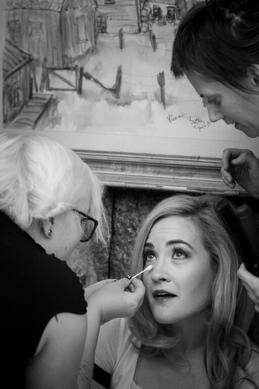 Bride getting teary eyed during makeup