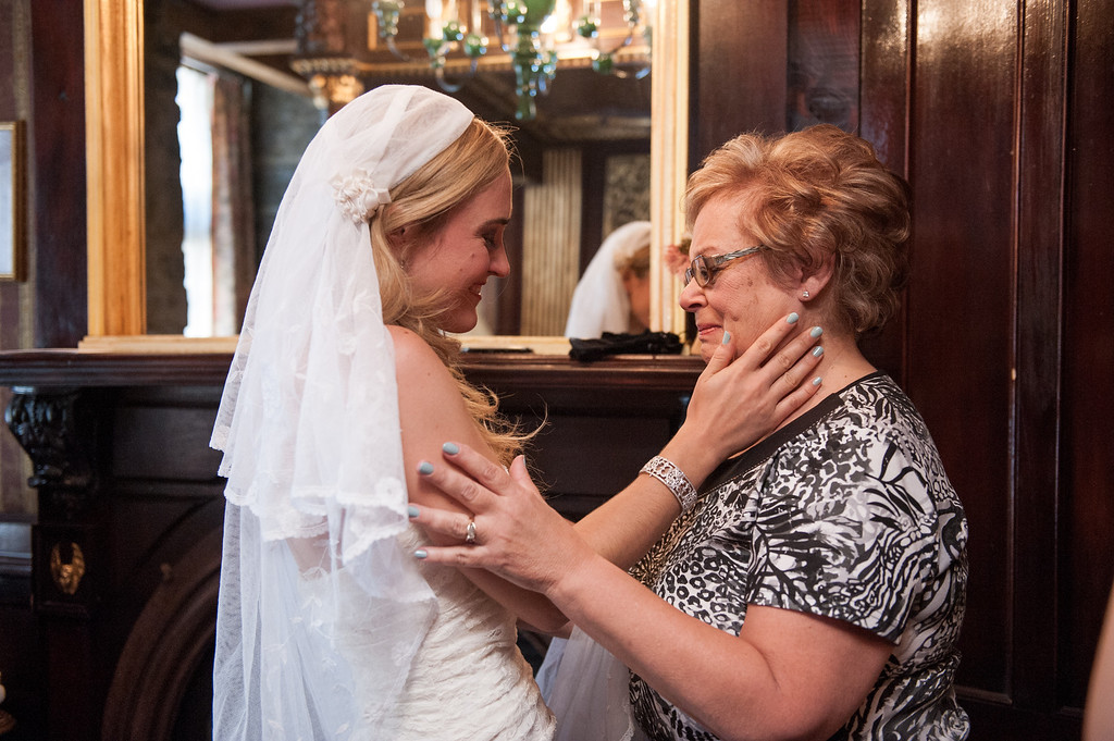 Bride and mom emotional on wedding morning