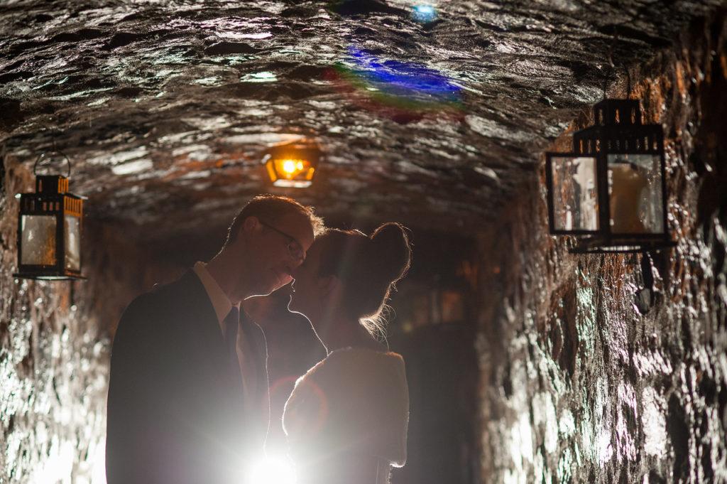 Wedding portrait in underground passageway